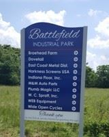 A large blue directional sign.